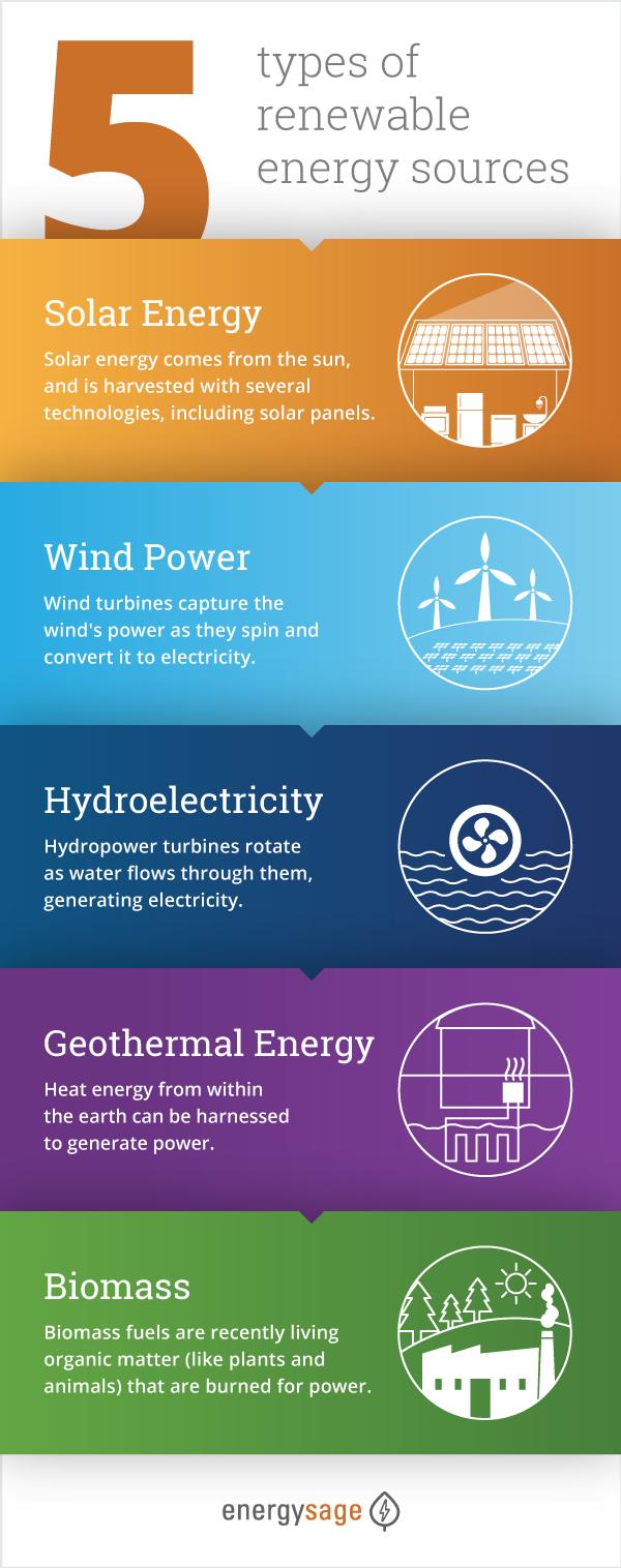 5 types of renewable energy infographic