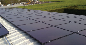 cadmium telluride solar panels on a roof