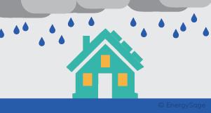 solar panel house and rain