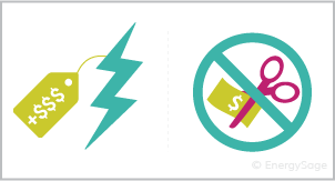 lightning bolt and scissors cutting dollar