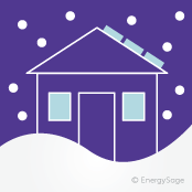 winter house with solar panels